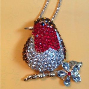 Betsey Johnson Robin necklace/pin